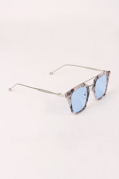 Plastic Frame Double Bridge Cat Eye Sunglasses