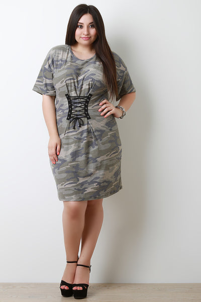 Camouflage Corset T-Shirt Dress
