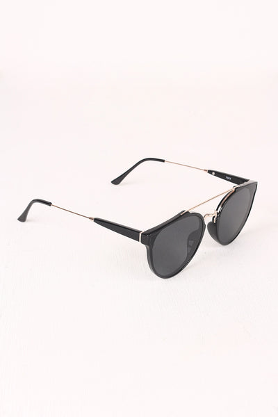 Retro Double Bridge Round Lens Sunglasses