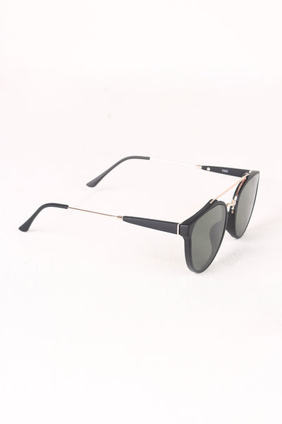 Matte Retro Double Bridge Round Lens Sunglasses