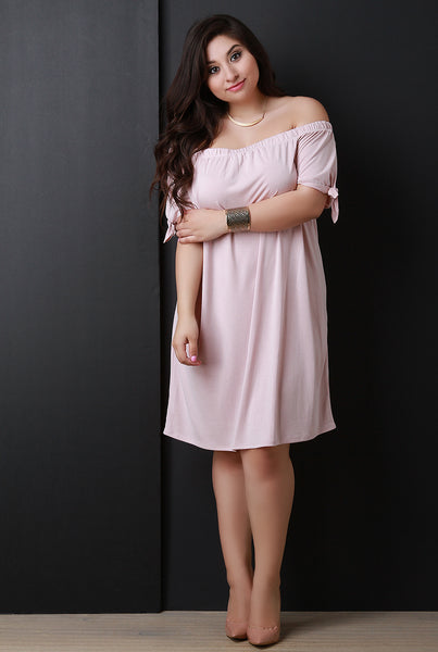 Off The Shoulder Self-Tie Sleeve Shift Dress