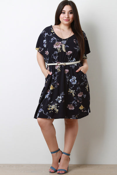 Floral Pocketed Flowy Midi Dress