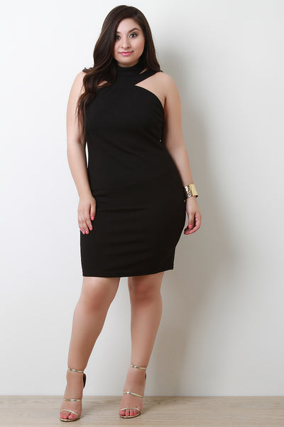 Mock Neckline Sleeveless Bodycon Midi Dress