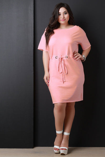 Boat Neck Grommet Embellished Midi Dress