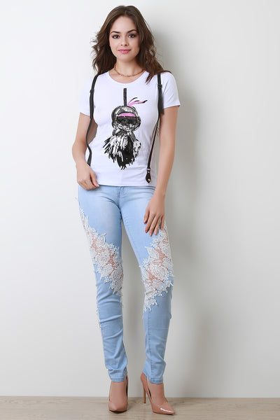 Leafy Embroidered Lace Panel Skinny Denim Jeans