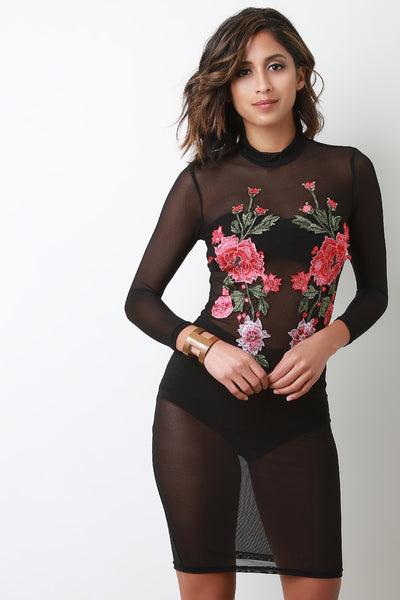 Mock Neck Long Sleeve Mesh Floral Embroidery Midi Dress