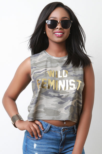 Wild Feminist Camouflage Sleeveless Crop Top
