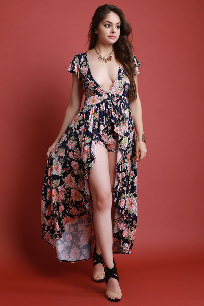 Floral Print V-Neck Ruffle High Low Maxi Top