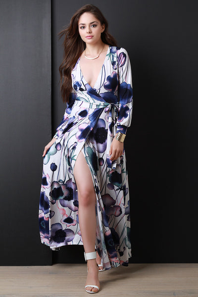 Floral Print Long Sleeve Surplice Maxi Dress