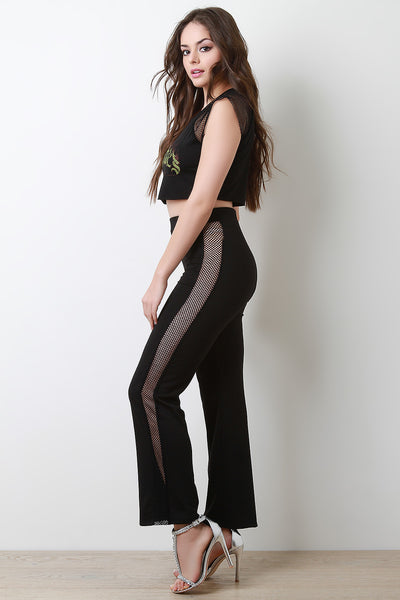 Fishnet Mesh Sides High Waisted Pants