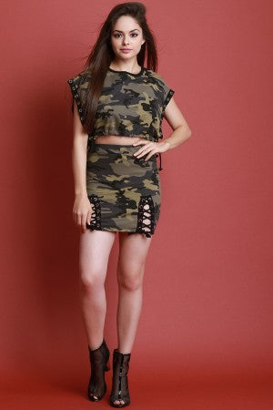 Camouflage Print Grommet Lace Up Mini Skirt