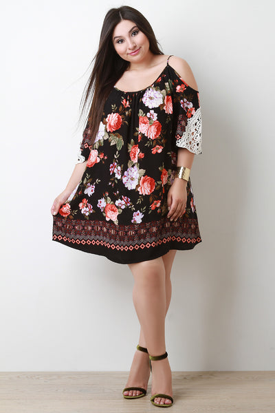 Floral Print Cold Shoulder Crochet Shift Dress