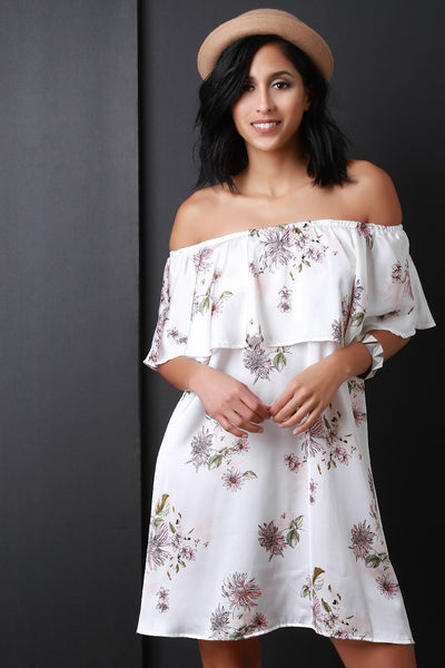 Satin Floral Print Off The Shoulder Shift Dress