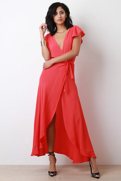 Surplice Self-Tie Sash High Low Maxi Dress