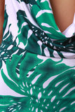 Tropical Leaf Plunge Neck Maxi Dress