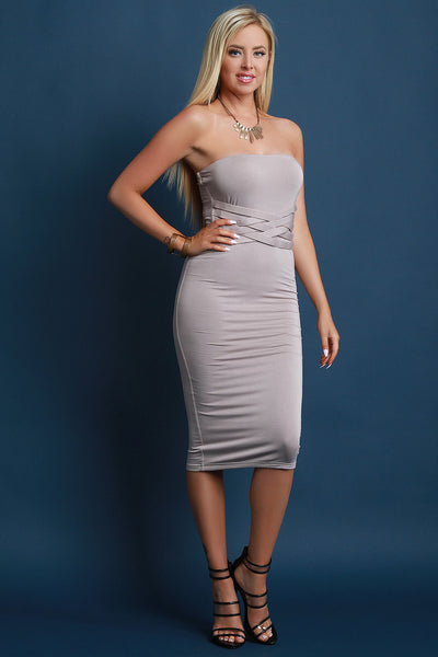 Jersey Knit Weave Tube Bodycon Midi Dress