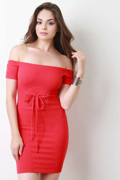 Off The Shoulder Self-Tie Corset Mini Dress