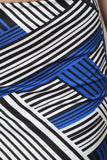 Asymmetrical Stripe High Waisted Midi Skirt