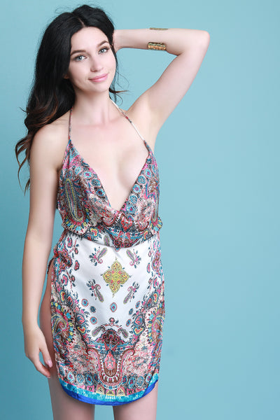 Satin Paisley Print Draped Halter Mini Dress