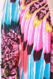 Vibrant Feather Print Floor Swept Cover-Up Cardigan