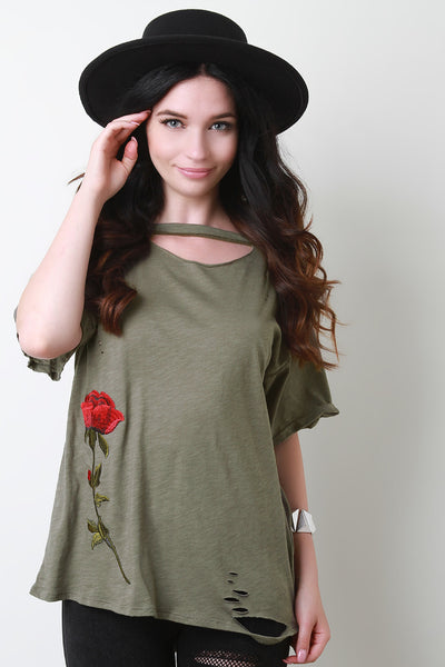 Single Embroidered Rose Distress T-Shirt Top