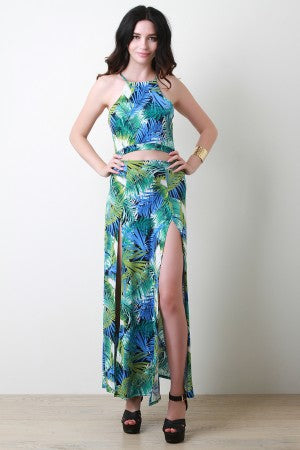 Tropical Palm Leaf Open Midriff Double Slit Maxi Dress