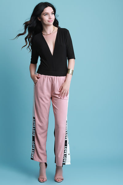 Love Color Block Button-Up Mid Rise Pants
