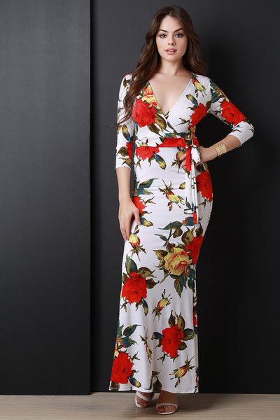 Floral Print Three Quarter Sleeve Surplice Maxi Dress