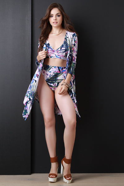 Tropical Leaf Open Front Long Sleeve Cardigan