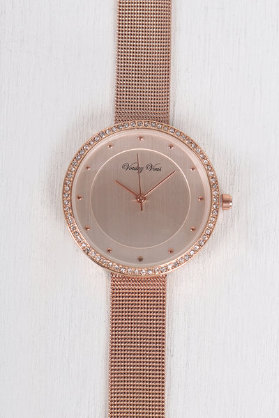Shiny Rhinestone Accent Dotted Watch