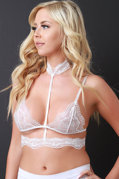 Tri Section Scallop Lace Caged Bralette