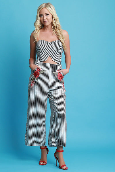 Striped Strapless Palazzo Jumpsuit