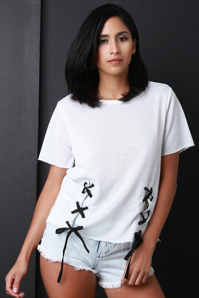 Raw Cut French Terry Lace Up Short Sleeve Top
