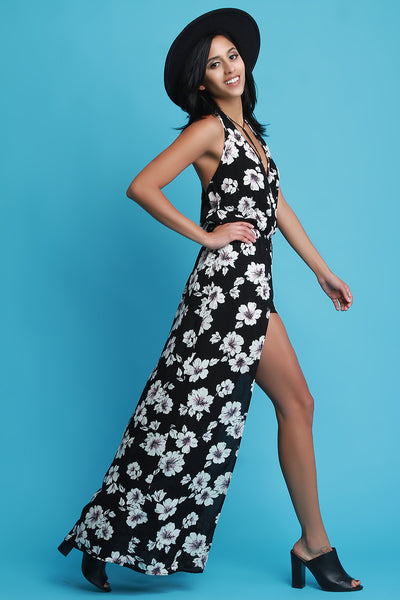 Plunging V-Neck Halter Floral Romper Maxi Dress