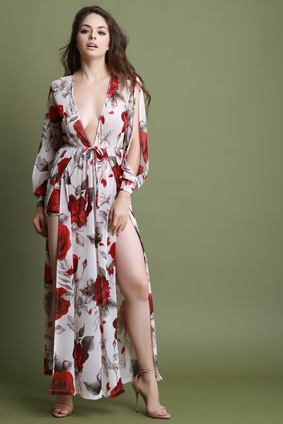 Plunging Neck Double Slits Floral Mesh Romper Maxi Dress