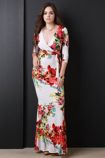 Floral Three Quarter Sleeve Surplice Fitted Maxi Dress