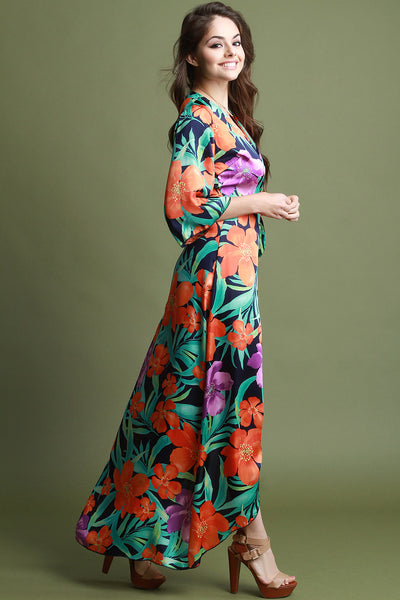 Kimono Sleeves Floral Wrap Maxi Dress