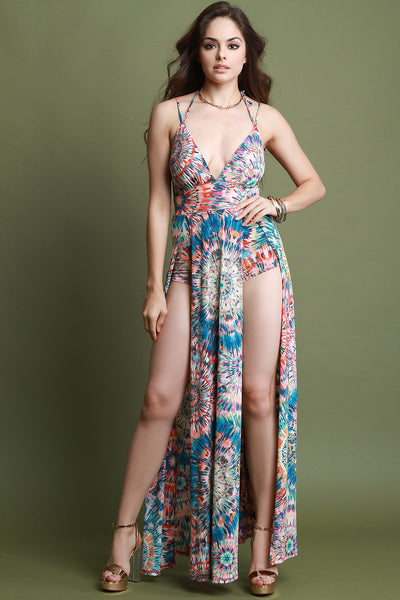 Tie-Dye Burst M-Slit Maxi Dress