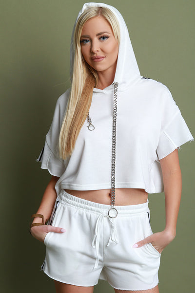 Curb-Link Chain Hoodie Sporty Shorts Set