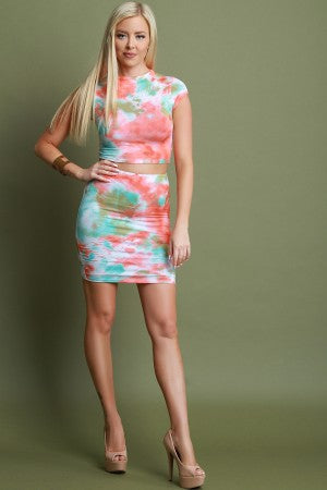 Tie-Dye Mock Neck Two Piece Dress