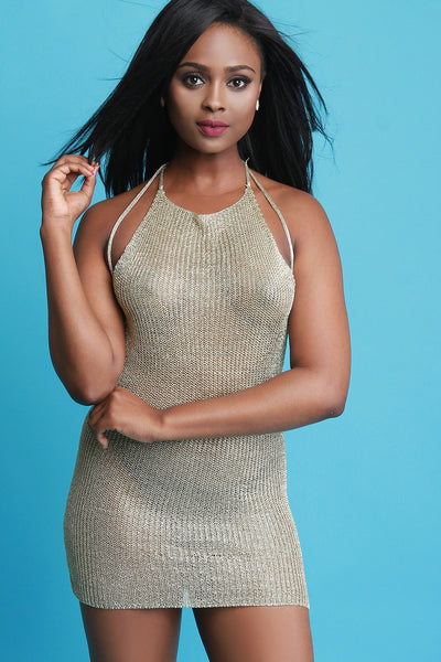 Metallic Knit Strappy Backless Dress