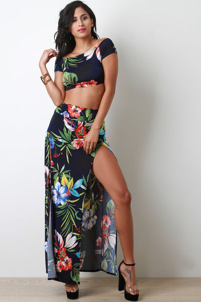 Tropic Hibiscus Two Piece M-Slit Maxi Dress