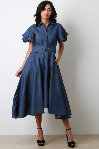 Denim Button Up Belted Handkerchief Midi Dress