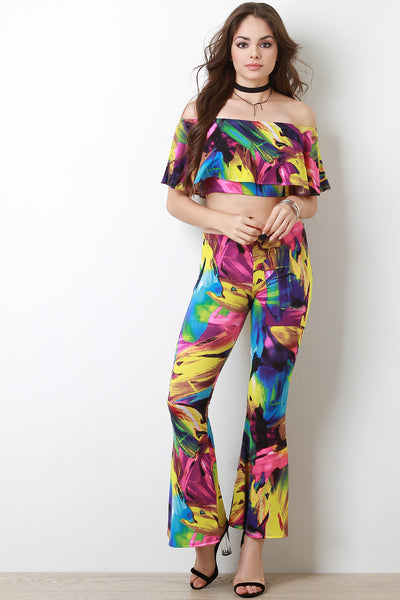 Color Stroke Flutter Bardot With Flare Pants Set