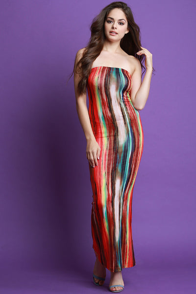 Tie Dye Tube Maxi Dress