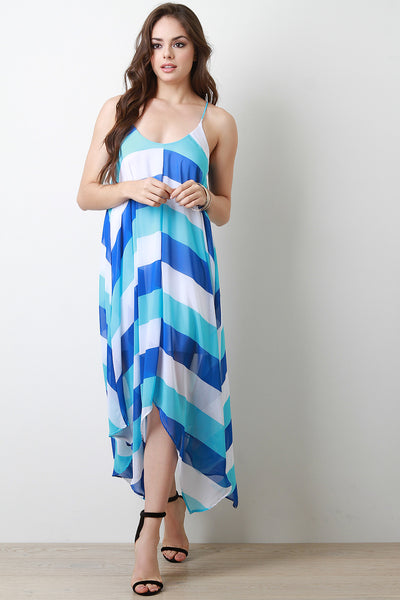 Chiffon Stripe Sleeveless Sharkbite-Hem Cami Dress