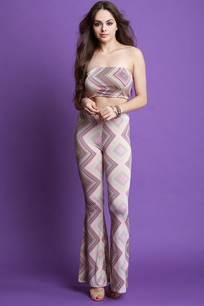 Geo Pattern Tube Top With High Waist Flare Pants Set