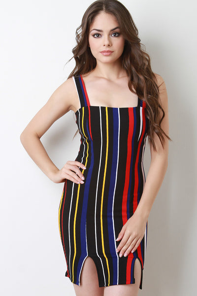 Rainbow Striped Slit Bodycon Mini Dress