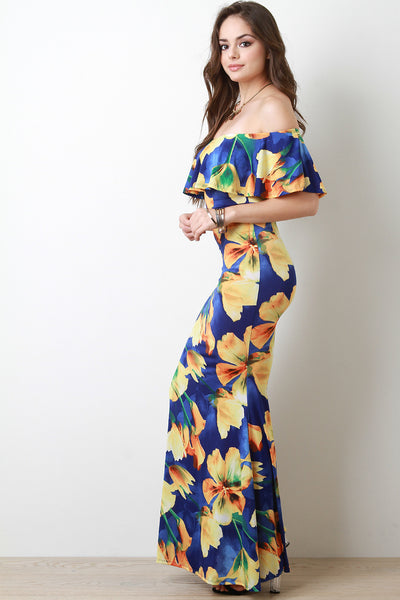 Flutter Bardot Floral Fitted Maxi Dress