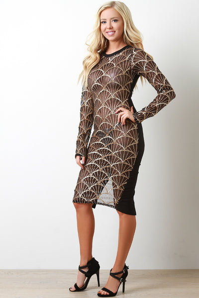 Glittery Sequins Shells Midi Bodycon Dress
